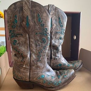 Size 7 Resistol Ranch Distressed Teal/Grey Boots